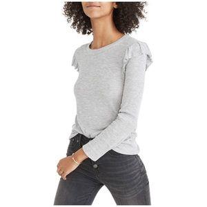 Madewell ruffle sleeve pullover sweater